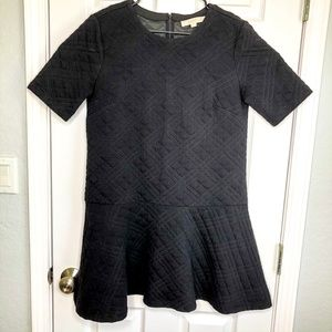 Ann Taylor Loft Med Black Quilted Drop Waist Dress